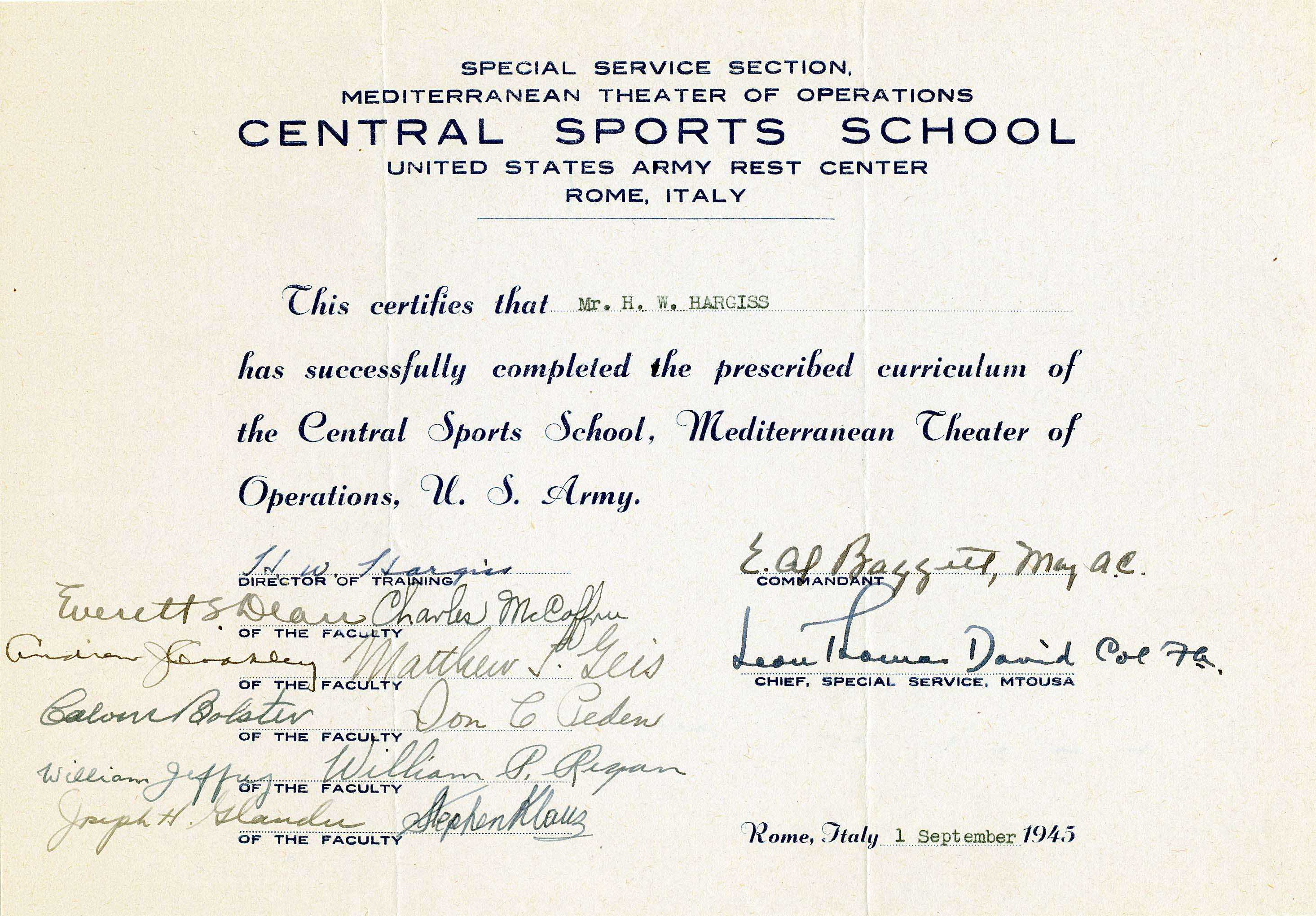 Us army letter of appreciation to bill hargiss 1945 us army central sports school certificate to bill hargiss 1945 xflitez Gallery