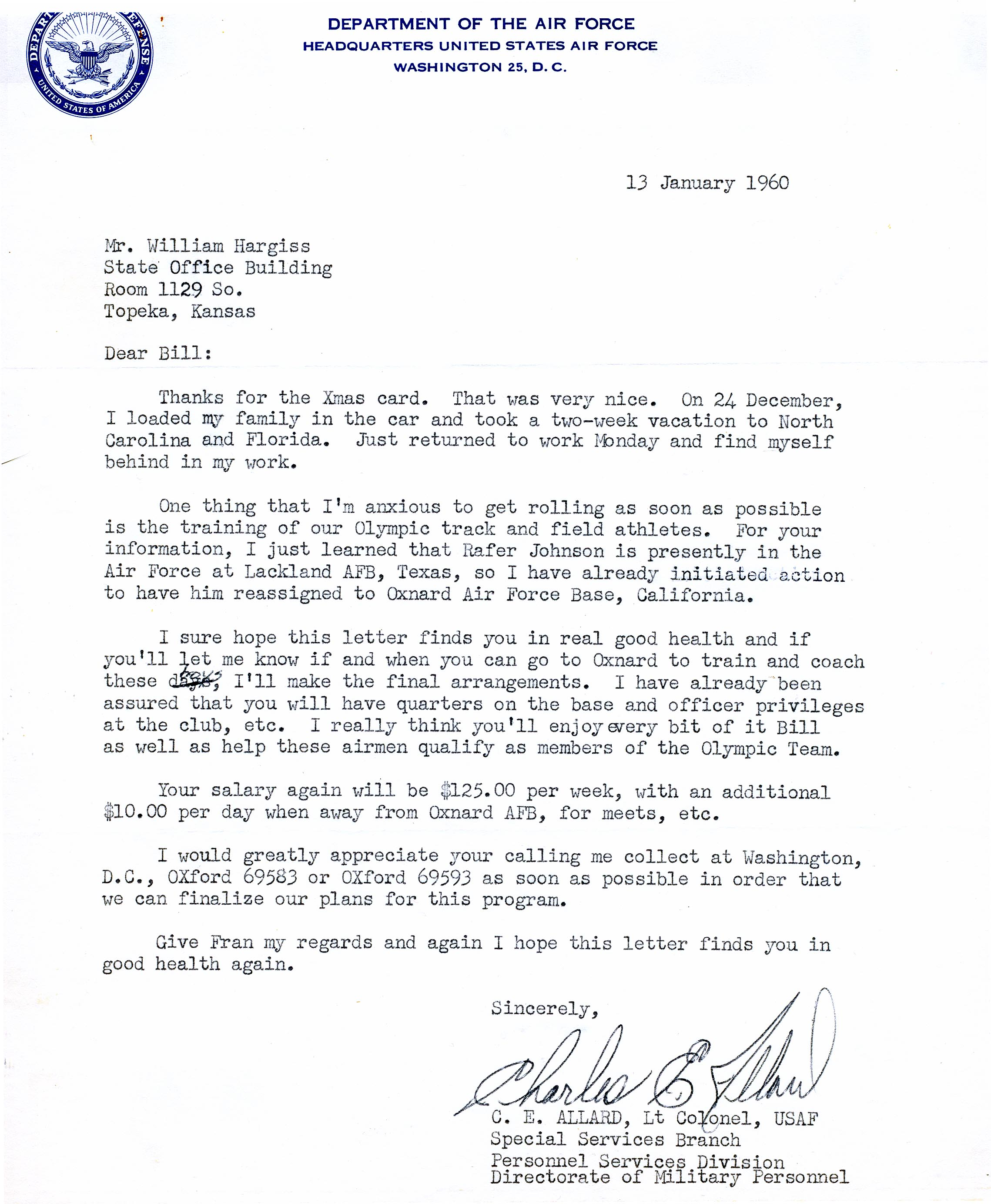 USAF Letter to Bill Hargiss 1960