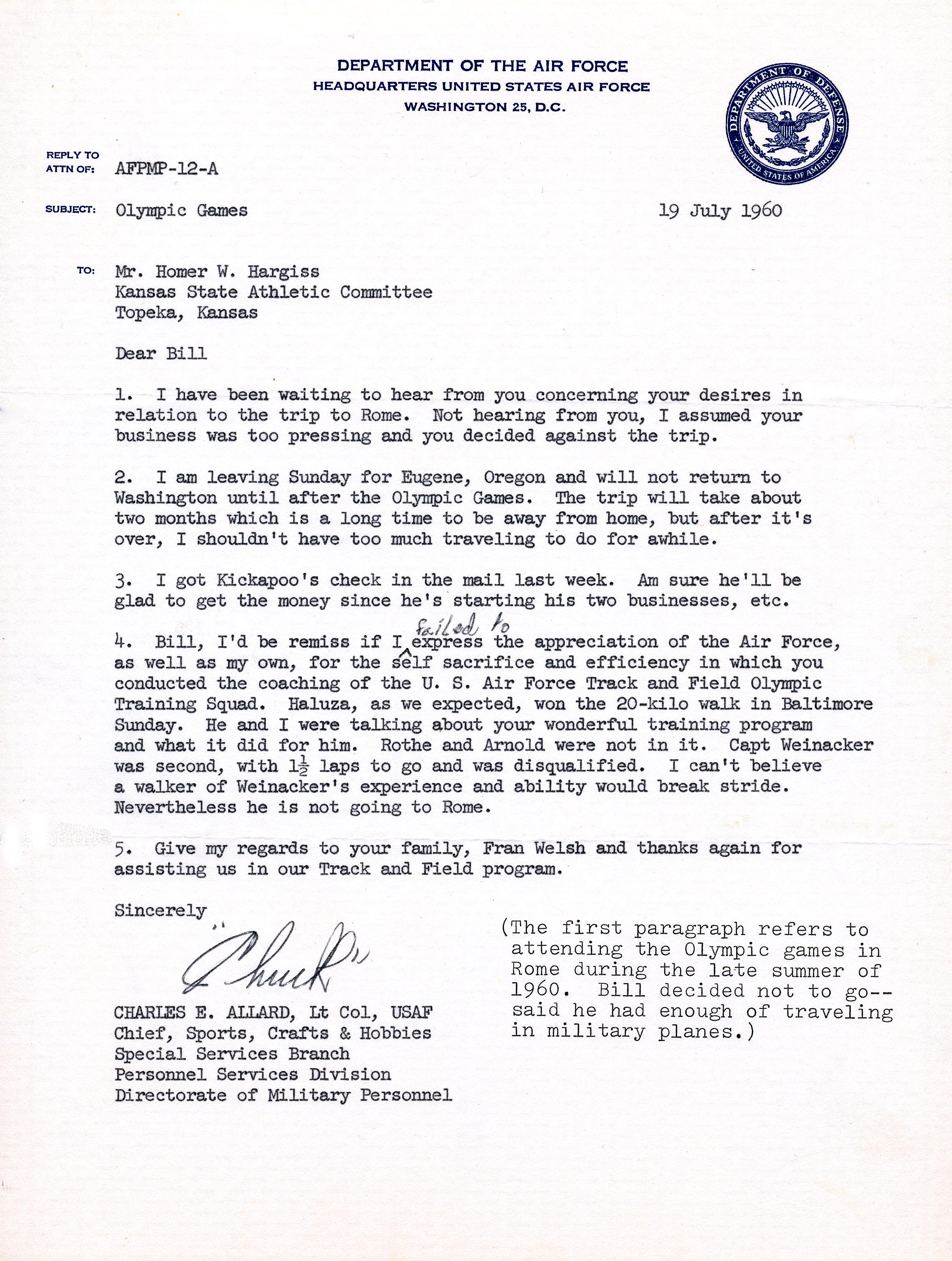 Letter of appreciation from USAF to Bill Hargiss, 1960