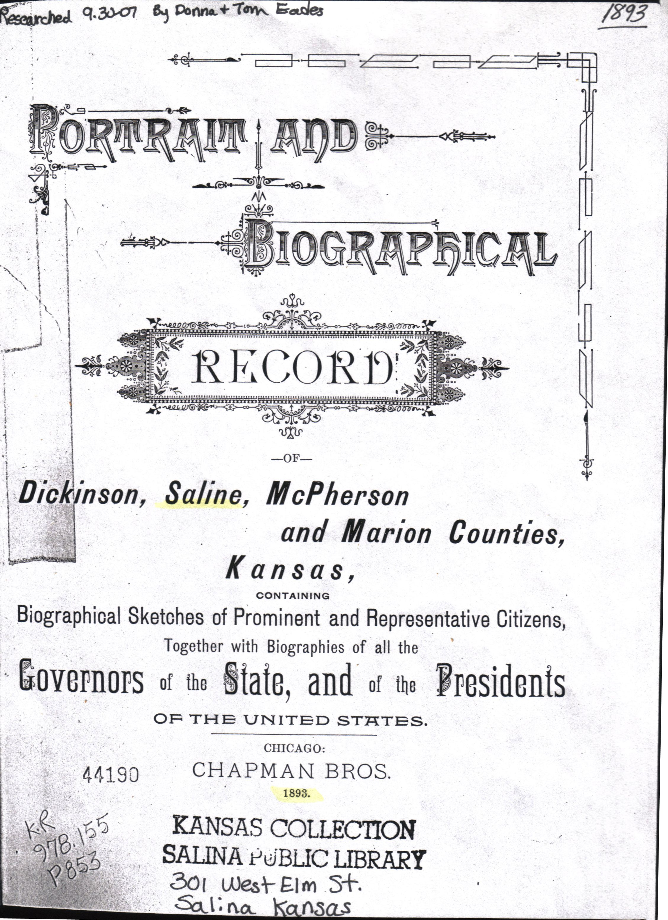 Kansas dickinson county solomon - Tilghman H Strickler Proprietor Of The Solomon City Nursery Is Numbered Among The Prominent Citizens Of Saline County Who Coming To Kansas Without